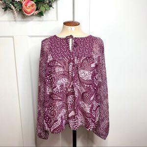GAP Purple/Maroon Patterned Tie Semi Sheer Blouse